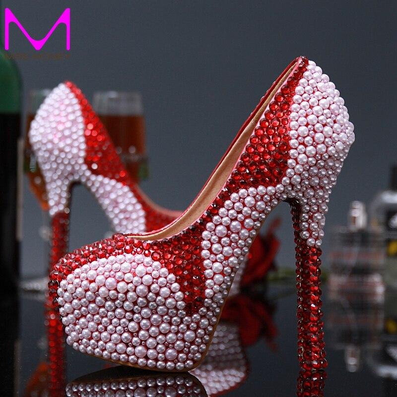 Free Shipping New Pink Pearl Bridal Wedding Dress Shoes Fashion Red Rhinestone Lady Party Shoes high heel Rhinestone Bridal Shoe
