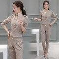 Duas Peças Set Top e Calças 2017 Primavera Outono Design de Moda Lençóis De Algodão senhoras Elegante Terninho para As Mulheres Plus Size S-2XL