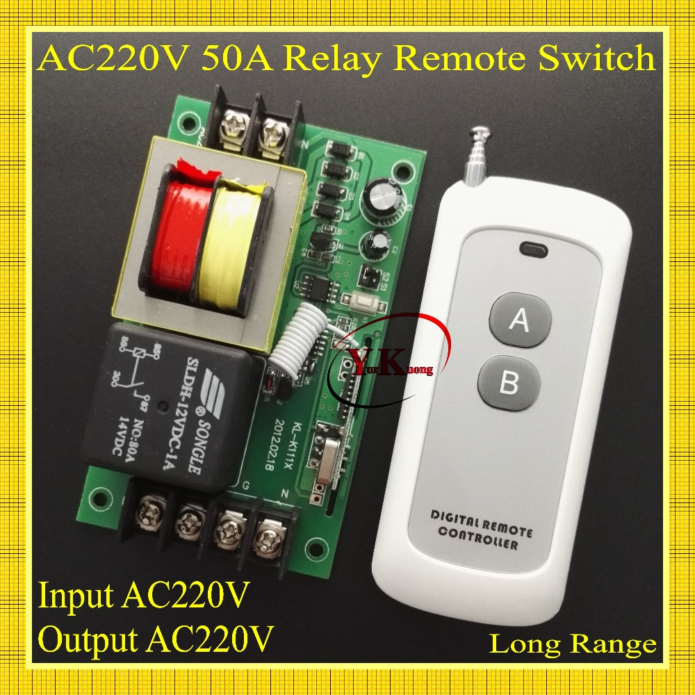 AC 220V 50A Relay RF Remote Switch Motor Water pump Machine Power Remote ON OFF Lighting Input Output AC220V Long Range 50-500m replacement plastic housing water pump motor ac 110v 13a