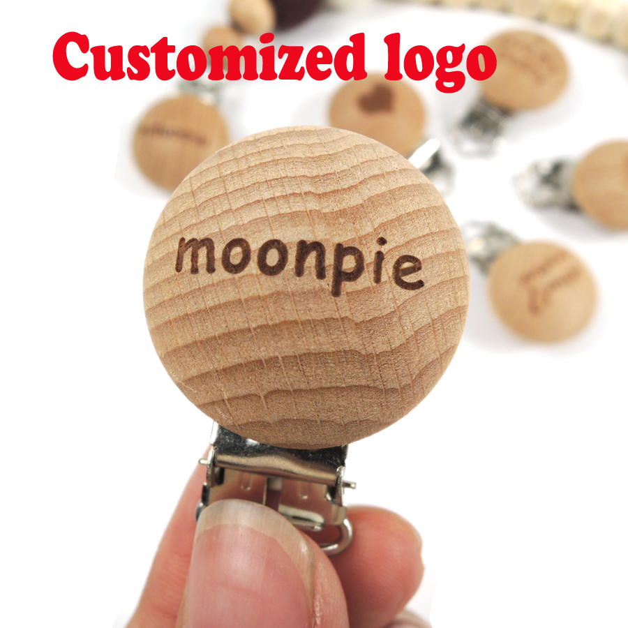 Moonpie customized logo beech wood pacifier clip , personalised brand engraving clip good quality-in Pacifiers Leashes & Cases from Mother & Kids    1