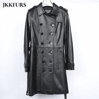 2019 Новый Для женщин Длинные Кожаные Куртки из натуральной кожи из натуральной овечьей кожи Модные Стиль Демисезонный S7548
