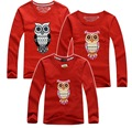 2015 christmas family t shirts owl family look matching mother and daughter clothes mommy and me clothes 7 colors