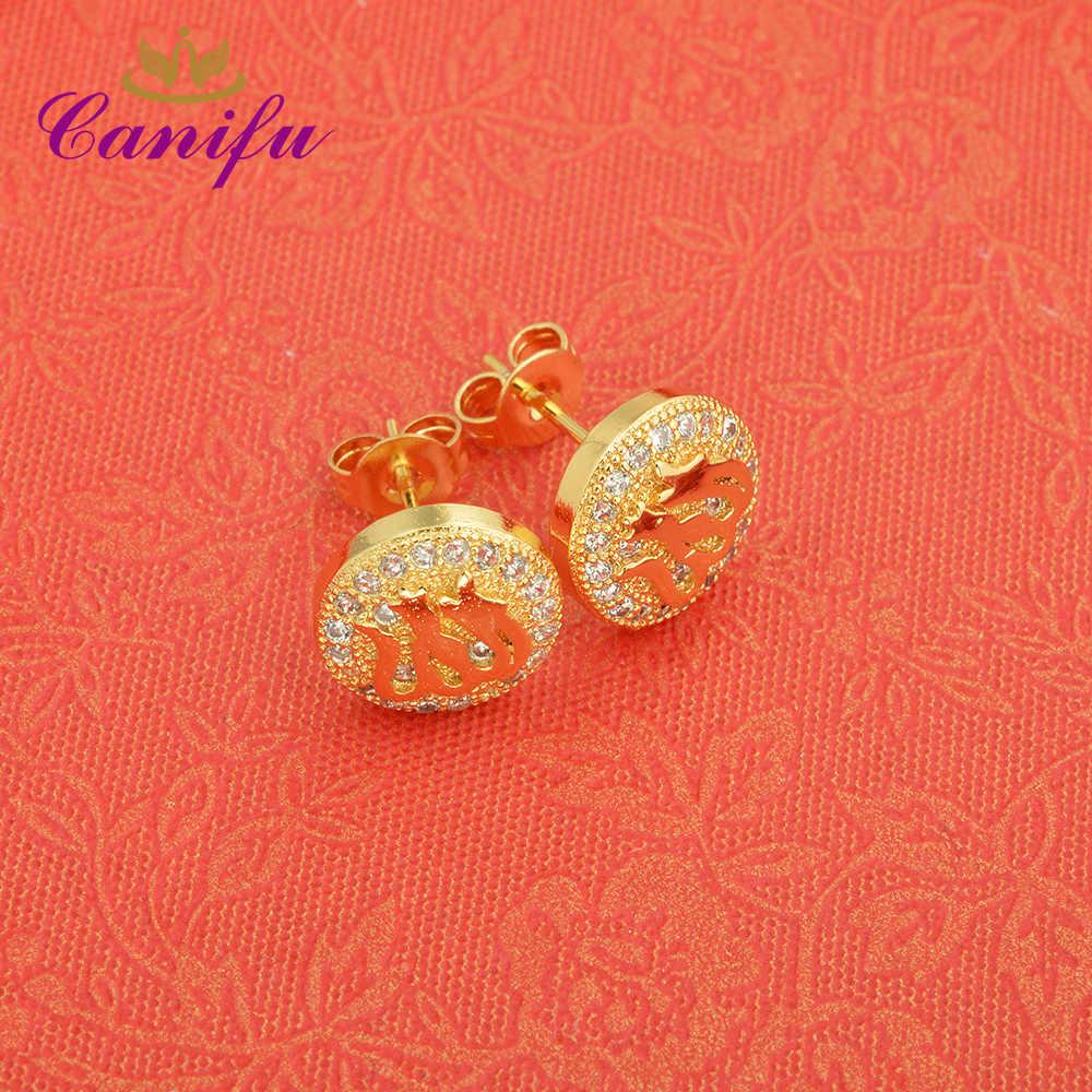 Canifu חמה מכירת הגעה חדשה זהב צהוב מלא תכשיטי אופנה עגילי זירקון AAA מתנות אלגנטיות עגילי אללה לנשים