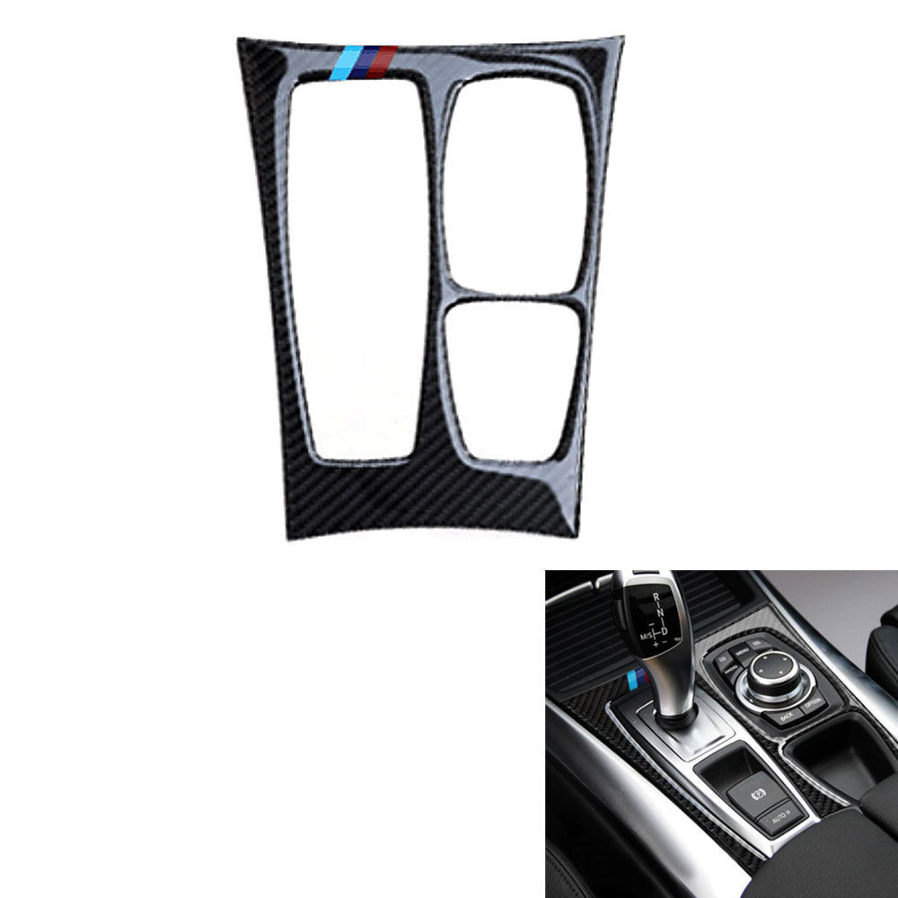BBQ@FUKA Fit For BMW X6 E71 2008-2013 Car Interior Console Gear Panel Cover Trim Carbon Fiber Sticker carbon fiber car rear bumper extension lip spoiler diffuser for bmw x6 e71 e72 2008 2014 xdrive 35i 50i black frp