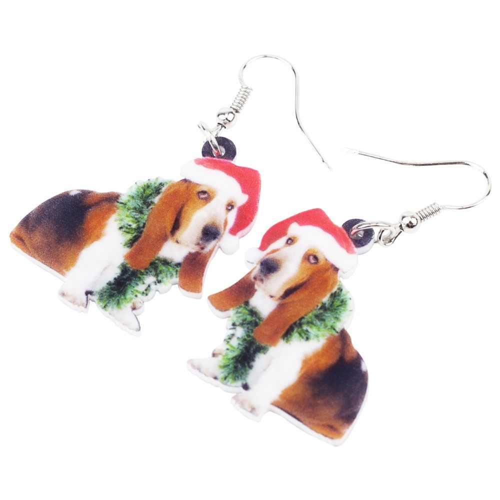 Bonsny Acrílico Doce Basset Hound Dog Brincos Big Longo Dangle Gota de Natal Novidade Presente de Jóias Para As Mulheres Das Senhoras Da Menina Adolescentes