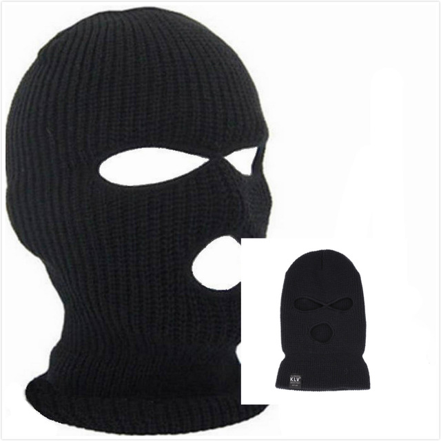 Full Face Cover 3 Holes Balaclava Knit Hat Winter Stretch Snow Mask Beanie Hat Cap Windproof Warm Breathable Masks for Riding