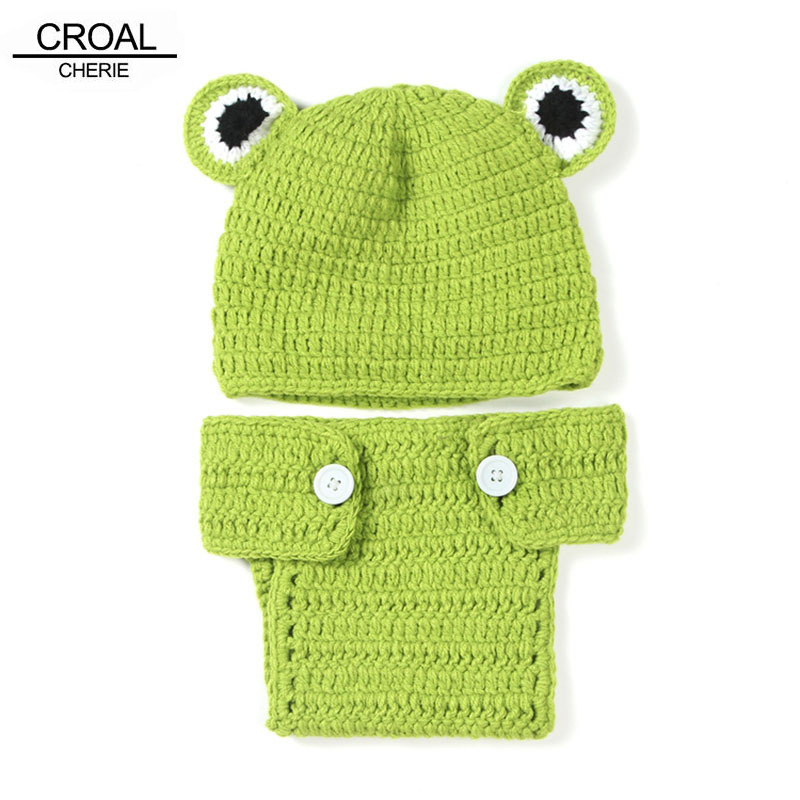 Sika Frog Beanies Cap Newborn Photography Props Animals Baby Hat Handmade Crochet Baby Clothing Infant Accessories 0-6MONTHS