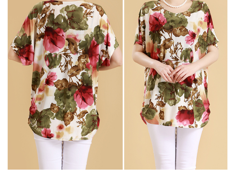 HTB1IuBCq1GSBuNjSspbq6AiipXaR XL 5XL Women Summer Style Casual Blouses Flor Clothing Plus Size Short Sleeve Floral Blusas Shirt Women's Tops Russia 56