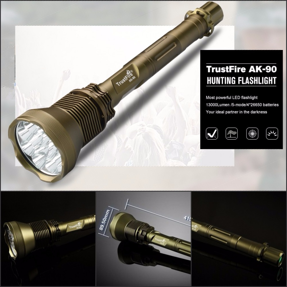 TrustFire AK-90 Flashlight 12* CREE XM-L T6 LED 5Mode 13000LM Flashlight Army Green by 4x 26650 Battery for camping trustfire z3 cree xm l2 u3 1000lm 5 mode zooming led flashlight 1x18650
