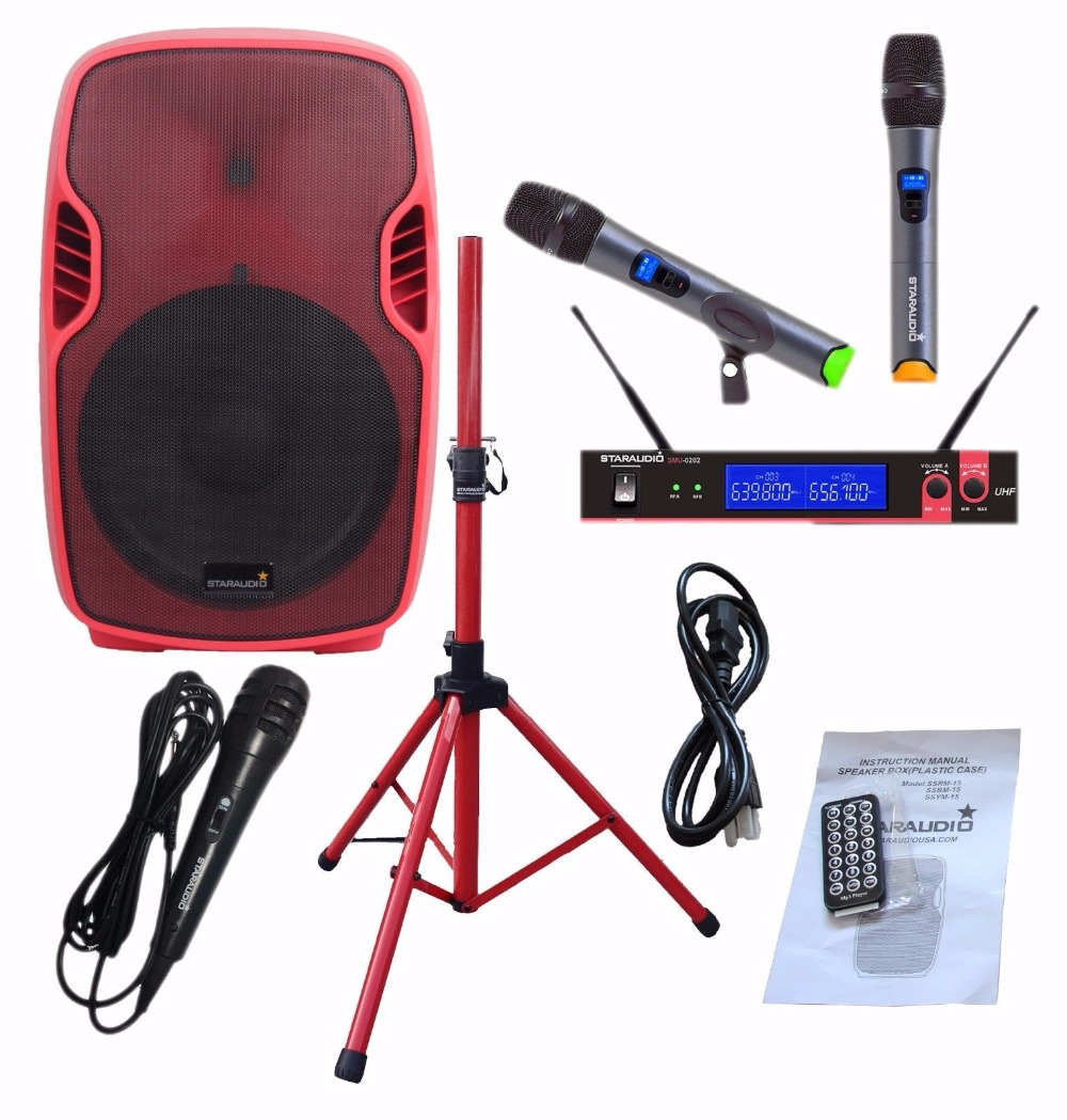 STARAUDIO SSRM-15 15 3500W PA DJ Stage Power Active BT Speaker W/ Stand 2CH UHF Mic System