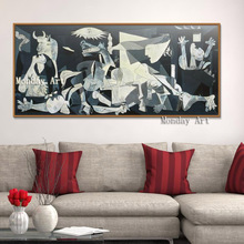 High Quality handpainted Spain France Picasso Classic Guernica 1937 Germany Figure Canvas Painting Wall Picture for living room oppler picasso s guernica cloth