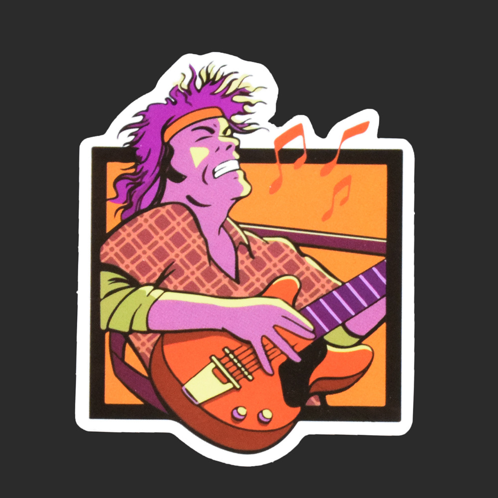 Guitar Man Single Sticker Car Styling Waterproof Fashion Tied Brand Stickers Luggage Skateboard Funny Decals