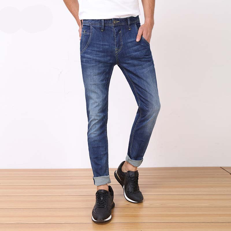 Mens Cotton Stretch Jeans Scratch Business Style Straight Trousers Male Brand Slim Denim Pants
