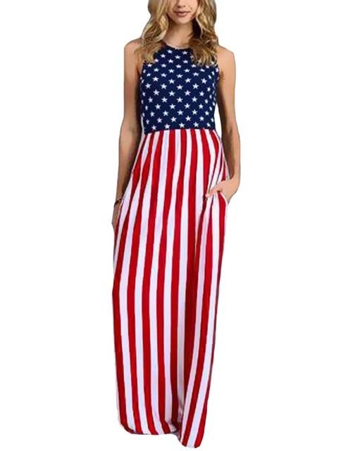 bc3a7fc31ee293 HItmebox 2018 Sexy Nieuwe Vrouwen Mouwloze Slim Fitting USA Amerikaanse  Vlag Print Strips Zomer Casual Beach