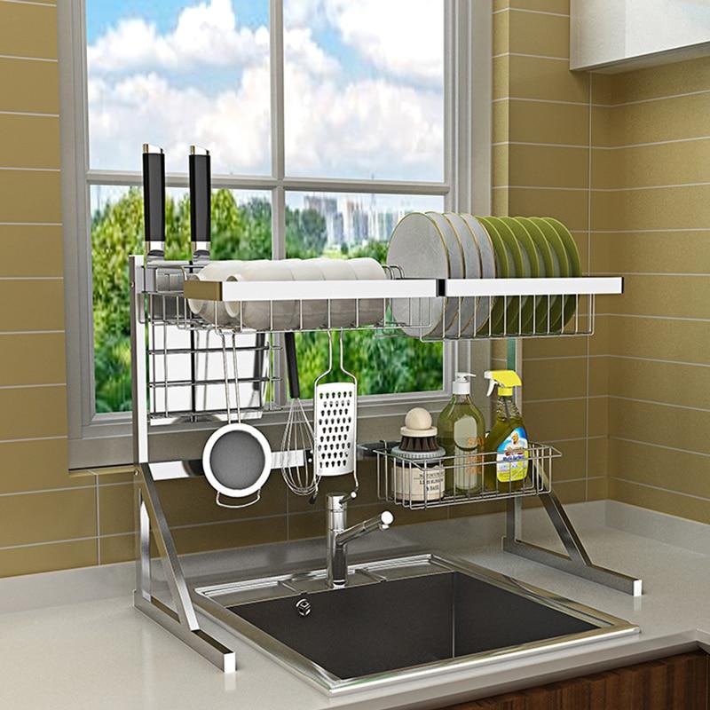 Multi use Storage Shelf Dish Rack Dinnerware Organizer Tableware Drying Rack Sink Sponge Kitchen Cup Holder Movable Hook