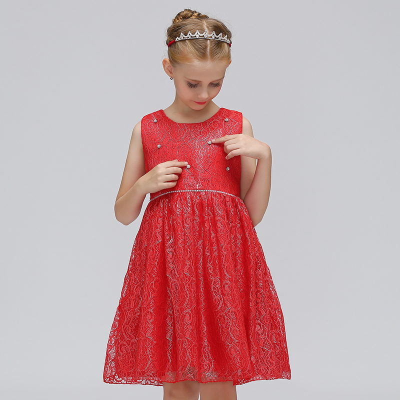 Retail Embroidery Pearl High Quality Children   Flower     Girls     Dress   With Ribbon Cute   Girls   Evening Party Crystal Belt   Dress   L9065