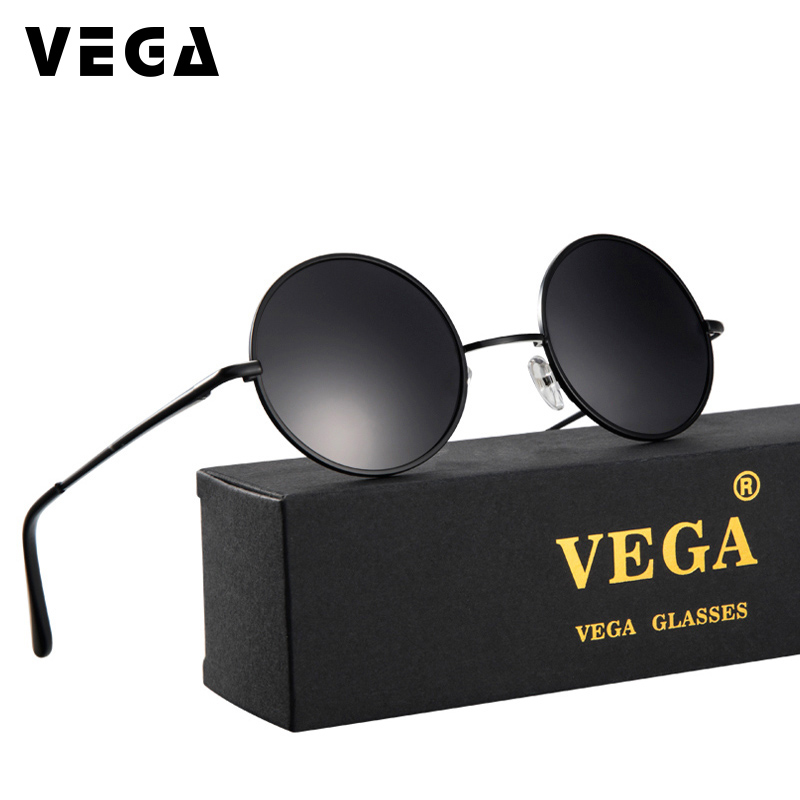 VEGA Polarized 80s 90s Retro Round Glasses Menn Kvinner Metal Round Solbriller Vintage Small Hippie Glasses Circle Lenses 8024