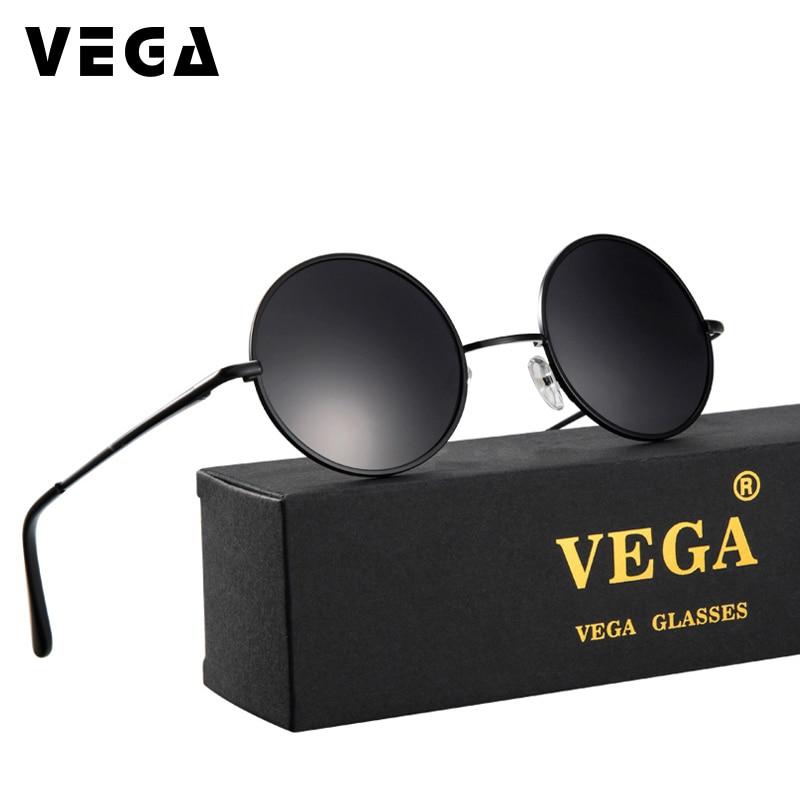 VEGA Polarized 80s 90s Retro Round Glasses Men Women Metal Round Sunglasses Vintage Small Hippie Glasses Circle Lenses 8024