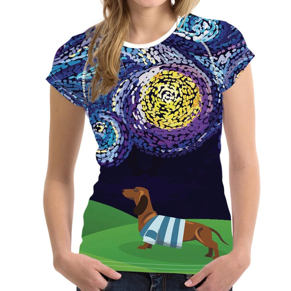 NoisyDesigns Women Tshirt Dachshund Flower Printed Cartoon Puppy Pattern T-shirt Female Fitness Cloth for Girls Kawaii Tee Shirt