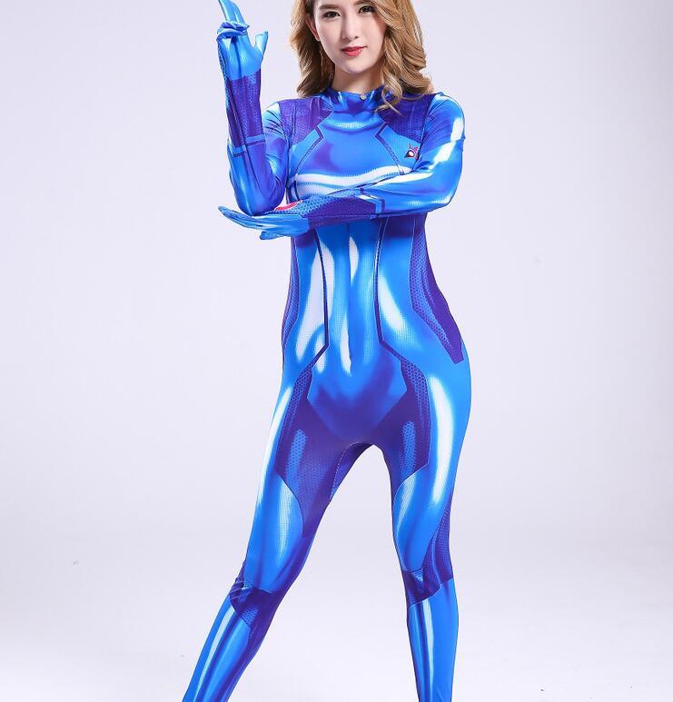 Women Girls Aran Cosplay Costumes Samus Zero Spandex Zentai 3D Printed Bodysuits Jumpsuits Female Samus Zero Halloween Costumes