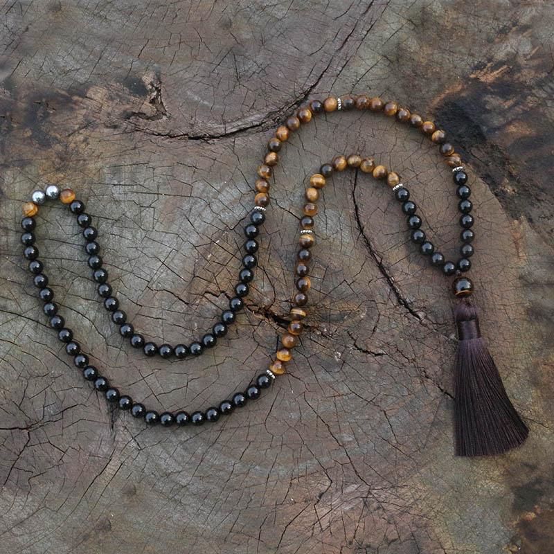 ✔  8-мм тигровый глаз  гематит  ожерелье JapaMala  украшения Namaste Yoga  малая чакра  молитвенный шар ✔