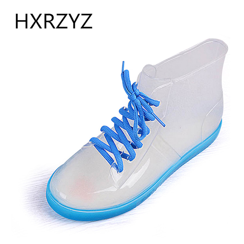 Spring autumn jelly transparent rain boots female solid color fashion short martin rain boots slip-resistant water shoes