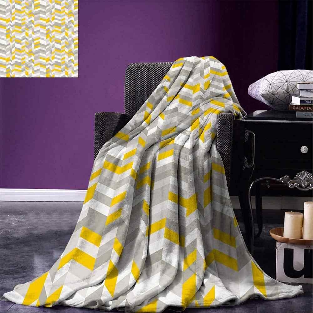 69434e4b87811 Grey and Yellow Throw Blanket Geometric Vintage 60s Home Pattern Inspired  Herringbone Zig Zag Lines Warm
