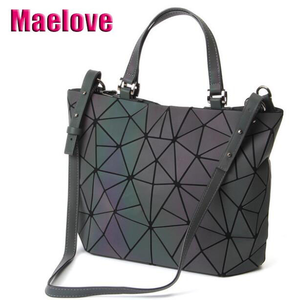 Image 2 - Maelove Luminous bag 2019 Women's Geometric Diamond Tote Fashion Folding  bag luxury handbags women bags designer-in Shoulder Bags from Luggage & Bags