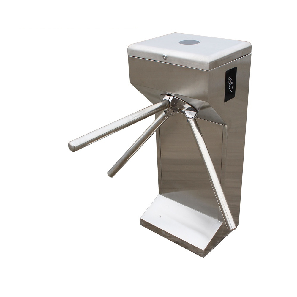 Pedestrian access control barrier gate factory price rfid reader stainless steel full automatic vertical Tripod turnstile