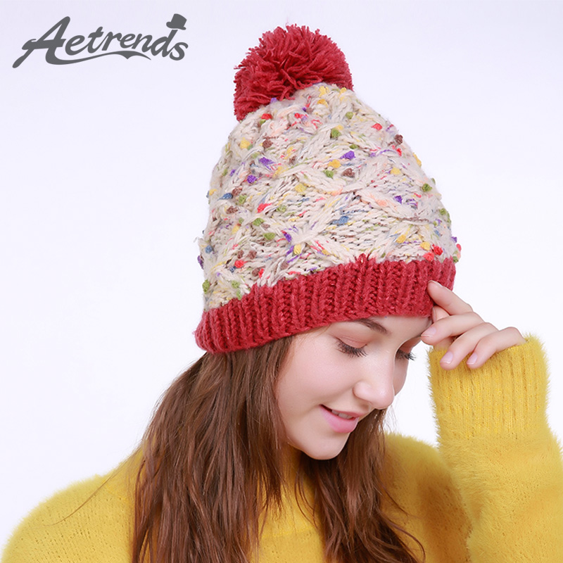 [AETRENDS] 2017 Winter Beanie Hats for Women Warm Knitted Female Caps Beanies Pompom with Top Ball Z-5994 2016 new beautiful colorful ball warm winter beanies women caps casual sweet knitted hats for women outdoor travel free shipping
