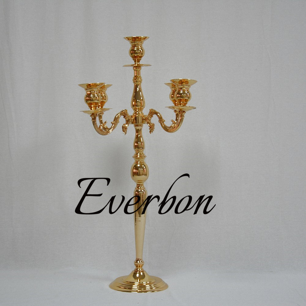 84cm Height Gold Centerpiece Table Candle Holder Candlesticks Wedding Props 10pcs / lot