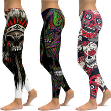 LI-FI Skull Leggings Yoga Pants Women Sports Pants Fitness Running Sexy Push Up Gym Wear Elastic Slim Workout Leggings(China)