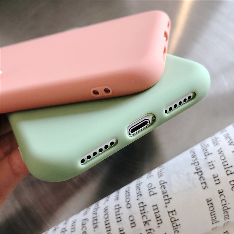 Image 4 - Plain Phone case Soft Silicone fitted case For iphone XR XS MAX 6 7 8 Plus dirt resistant  anti knock with free strap gift Hot-in Half-wrapped Cases from Cellphones & Telecommunications