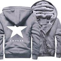 Sweatshirts Männer 2018 Winter Fleece Dicken Pullover David Bowie Heroes Black Star Print herren Sportswear Hoody Harajuku Sweatshirt