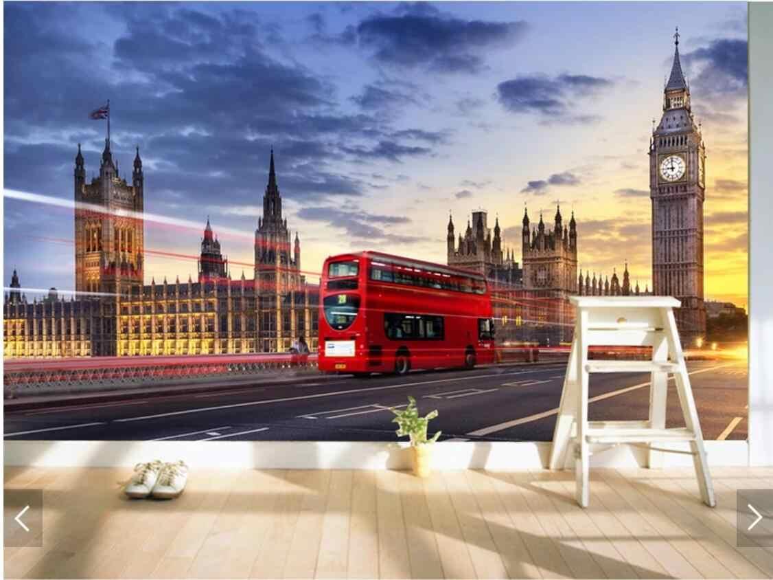 Customized 3d Wallpaper for Walls 3 D Mural UK London Bridge Red Bus Murals Wall Paper TV Background Decorative Landscape