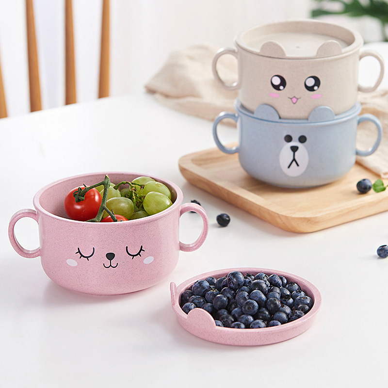 Cute Baby Cartoon <font><b>Bamboo</b></font> Dishes Children Food Container Placemat Infant Feeding Bowl 3 Colors <font><b>Kids</b></font> Tableware NBB0326 image