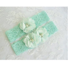 1 pair Mint Green Wedding Garter Set with Toss Garter in Mint Lace Bridal Garter with Chiffon Blossoms pearls and rhinestones