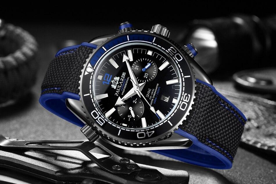 HTB1IuCjdBGw3KVjSZFwq6zQ2FXaV Men Automatic Self Wind Mechanical Canvas Rubber James Bond 007 Style Orange Blue Multifunction Date Month Sport Watch