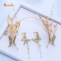 Golden Baroque Butterfly Headband Vintage Handmade Bridal Tiara with Earrings Wedding Accessories Set hair ornaments H152