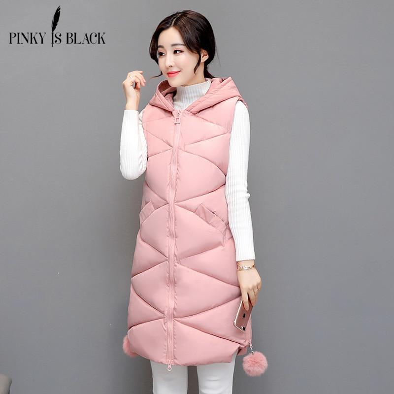 Pinky Is Black Winter Vest Women 2017 New Fashion Waistcoat Army Green Slim Vests Hooded Cotton-padded Warm Long Vest Female