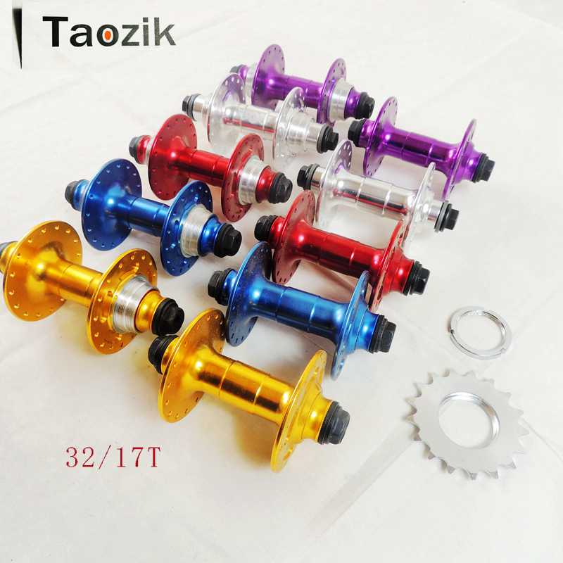 Original TAOZIK bmx extreme performance Fixed gear fixed-wheel single speed bike 17T hub 32 4 sealed bearing bike hubs 1set front and rear 700c road bike wheel bicycle magnesium alloy three spokes parts integrated wheel fixed gear single speed