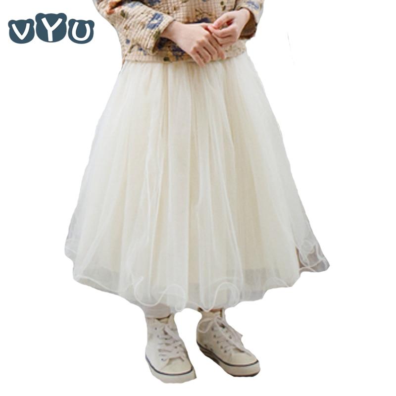 VYU ново пристигане детско облекло детска принцеса малки момичета случайни пачка пух средата телета дълго детска пола възраст 2-10, бежово / сиво  t