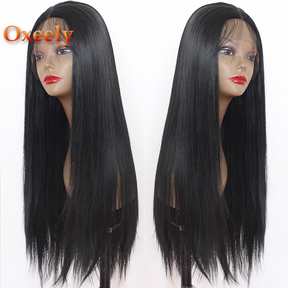 180 densidade peruca reta preta resistente ao calor do cabelo da fibra perucas sintéticas longas retas da parte dianteira do laço de oxeely para as mulheres negras