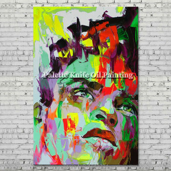 Palette knife portrait Face Oil painting Character figure canva Hand painted Francoise Nielly wall Art picture for living room31