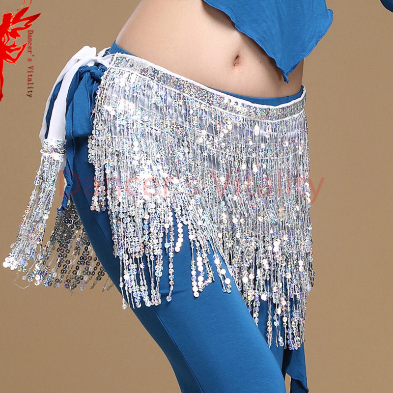 12 colors belly dance accessories women belly dance hip scarf tassel sequins belt girls belly dance belt