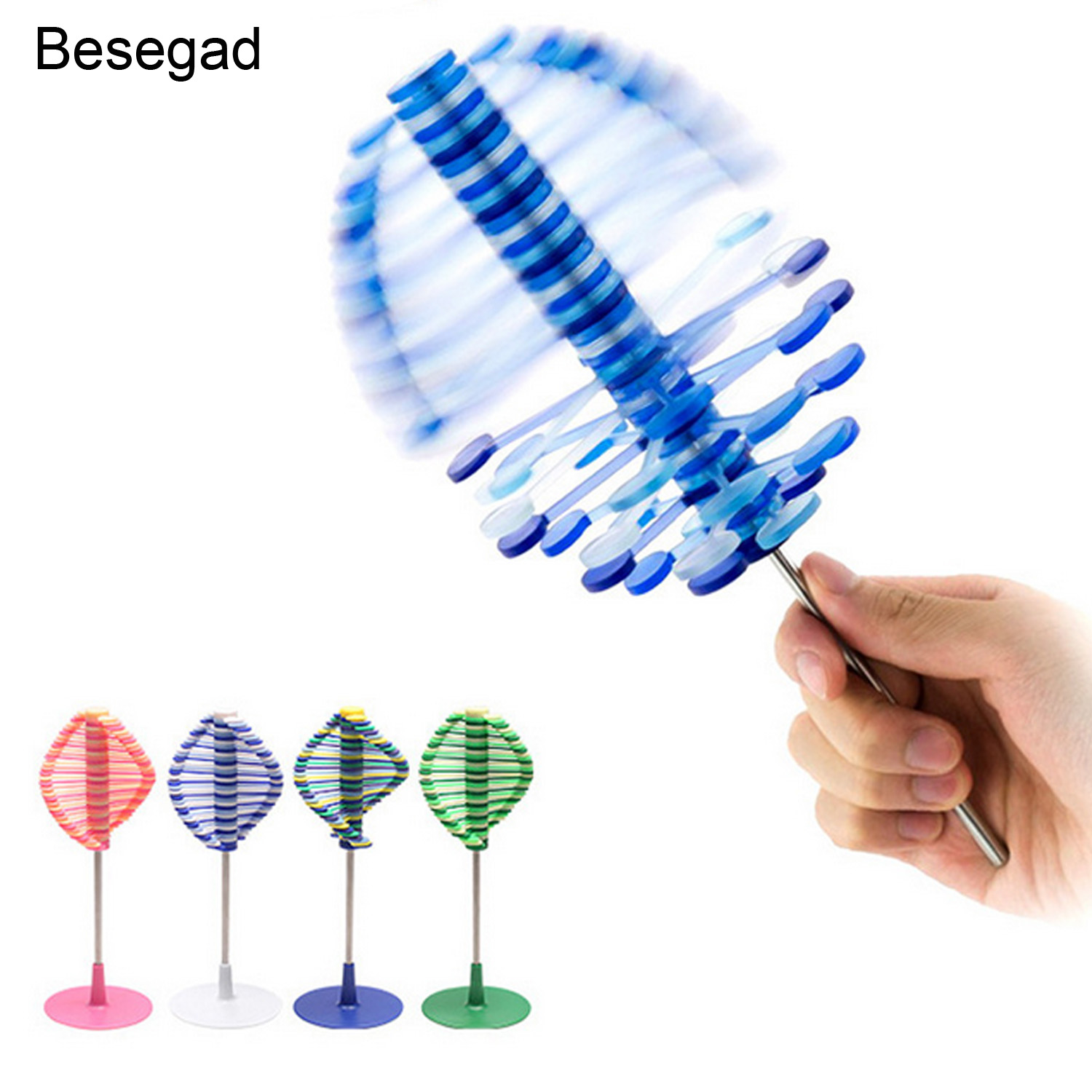 Besegad Funny Rotating Spin Lollipop Toy Kid Children Adults Stress Relief Puzzle Toys Home Office Desktop Decorations