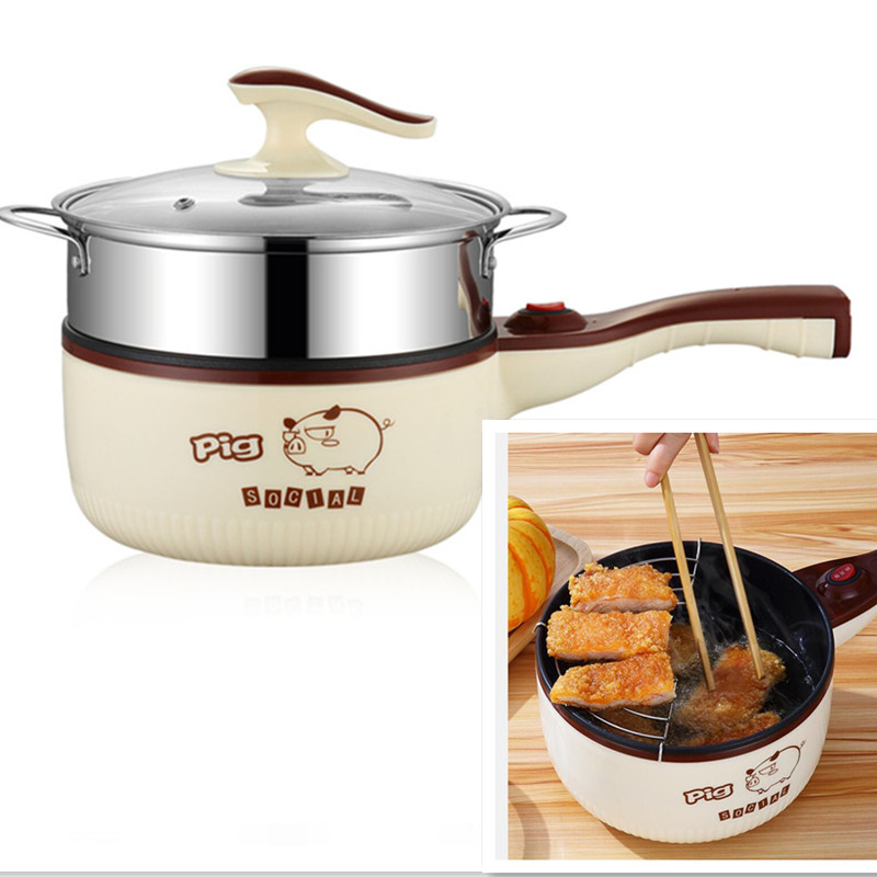 лучшая цена 220V Multifunction Electric Cooking Pot Machine Non-stick Multi Cooker Chicken French Fries Frying Pot EU/AU/UK/US Plug