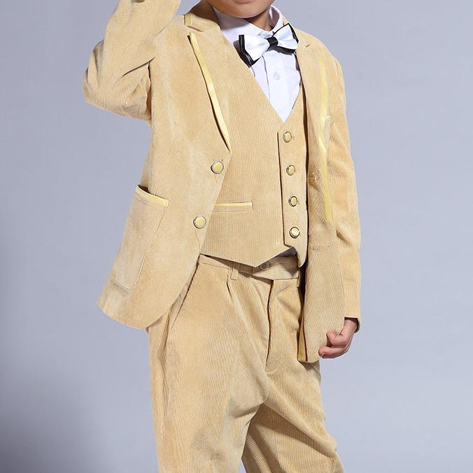 ФОТО 2017 Latest Fashion 5 Pcs Boy Clothing Set Party Suits Yellow coat+vest+shirts+trousers+bow Tie Boy Clothes Formal SKS155030