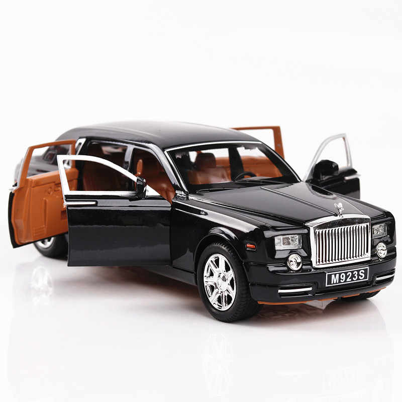 1:24 Diecast Alloy Car Model Rolls Royce Phantom Metal Toy Car Wheels Simulation Sound Light Pull Back Car Collection Kids Gift