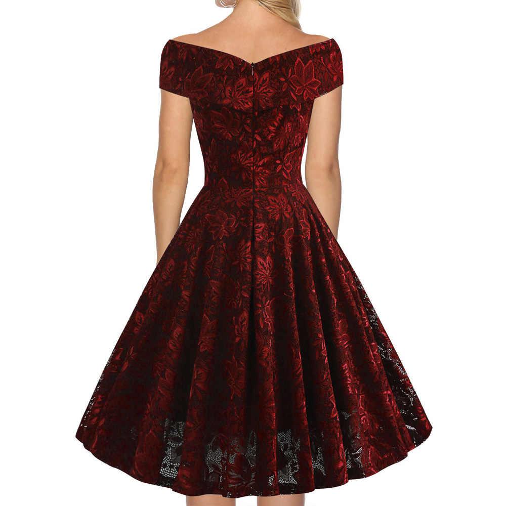 Joineles 60 s Одри Хепберн женское ретро платье сексуальное с открытыми плечами рукава однотонные кружевные вечерние платья с высокой талией винтажное платье 2019